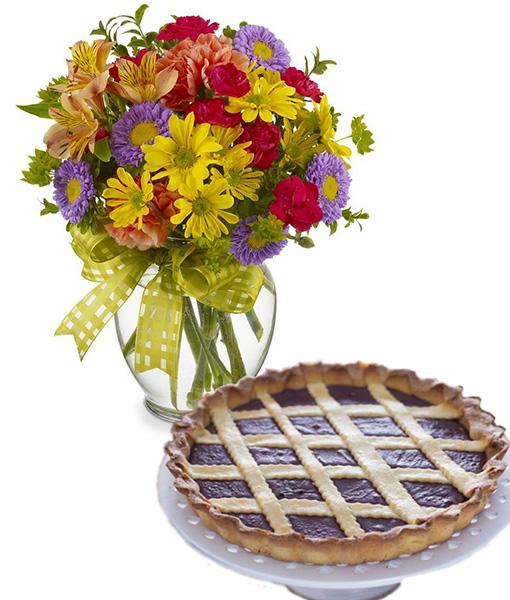 bouquet-di-fiori-misti-con-crostata-alla-nutella