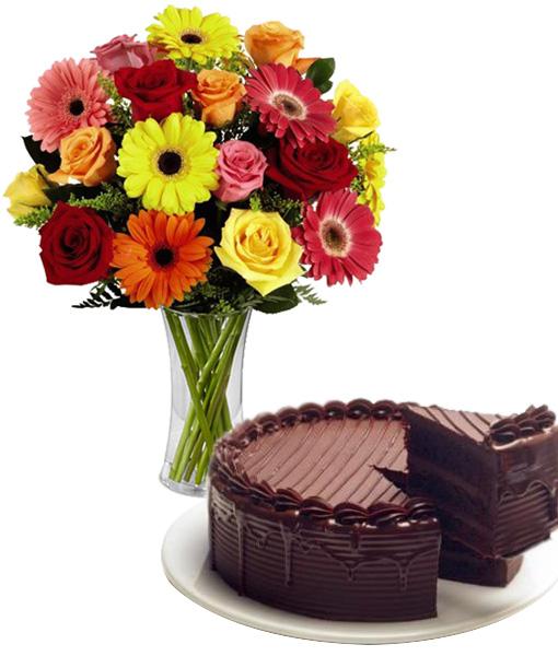 bouquet-di-gerbere-e-rose-co-torta-al-cioccolato