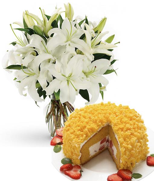 bouquet-di-gigli-bianchi-con-torta-mimosa