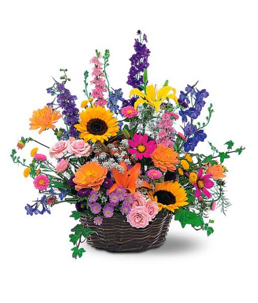 cesto-roselline-gigli-girasoli- fiorellini-colorati