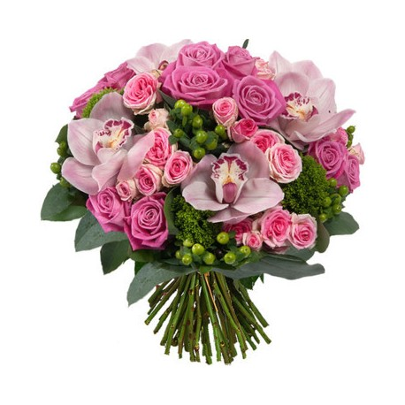 bouquet-di-rose-rosa-bacche-verdi-e-orchidee-rosa