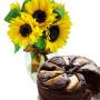 bouquet-di-girasoli-con-torta-cioccolato-e-pere
